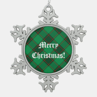 Plaid Pattern - Green and Red Snowflake Pewter Christmas Ornament