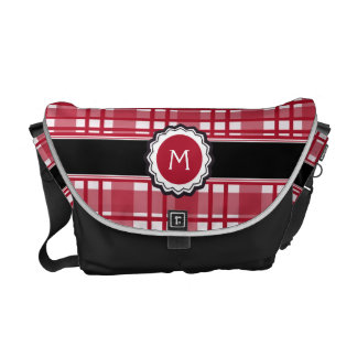 Plaid Pattern in Red White Monogrammed with Black Courier Bags
