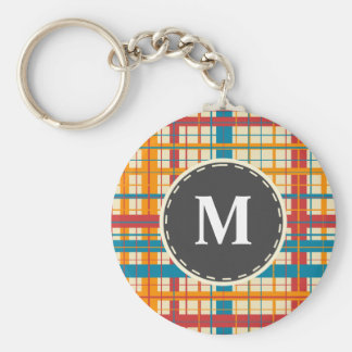 Plaid pattern key ring