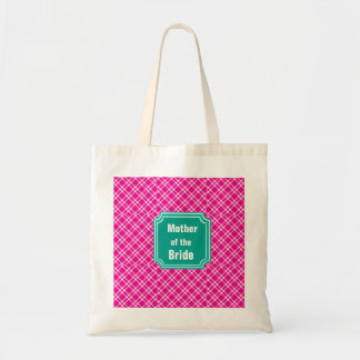 Plaid Pattern Mother of  Bride Wedding Tote Bag