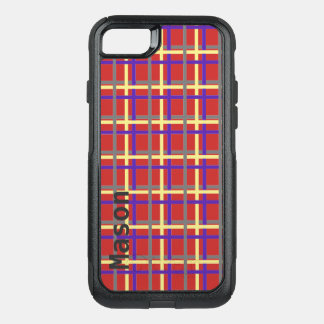 Plaid pattern personalised OtterBox commuter iPhone 8/7 case