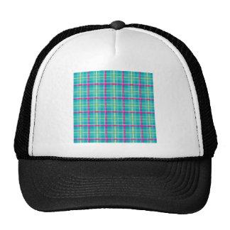 Plaid-Pattern-Pink-Blue-Background Cap