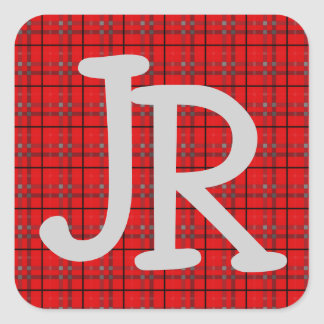 Plaid Pattern Red Grey Black Name Initial Monogram Square Sticker