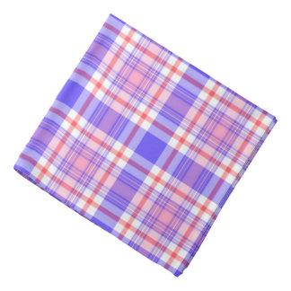 Plaid Pattern Violet Blue and Pink Bandana