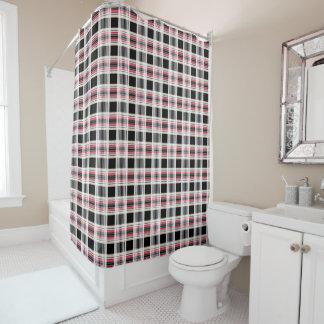 Plaid , pink , black , white shower curtain