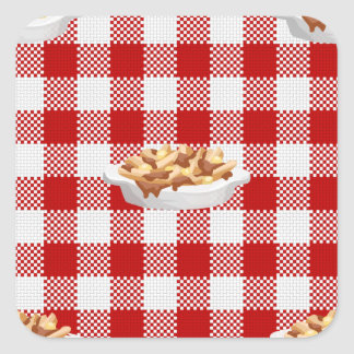plaid poutine square sticker