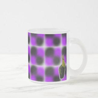 Plaid purplez frosted glass mug