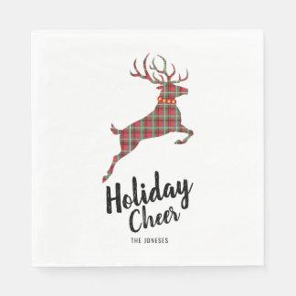 Plaid Reindeer Holiday Cheer Paper Napkin
