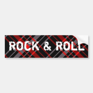 Plaid Rock and Roll Bumper Sticker