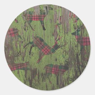plaid rustic wood deer holiday christmas sticker