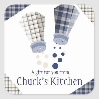 Plaid salt and pepper shakers cooking culinary square sticker