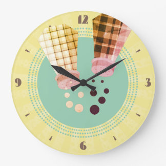 Plaid salt and pepper shakers retro kitchen clock