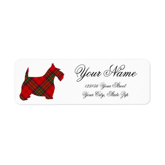 Plaid Scottie Personalise Return Address Label