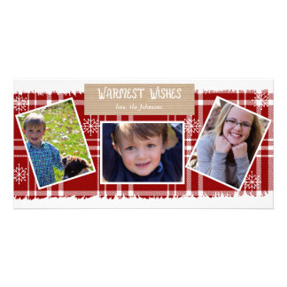 Plaid Snowflake Holiday Photo Cards