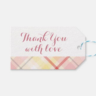 Plaid Stripes Yellow & Pink Wedding Party Gift Tags
