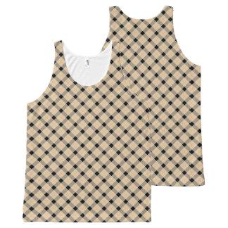 Plaid / tartan  pattern beige and black All-Over print singlet