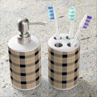 Plaid / tartan  pattern beige and black bathroom set