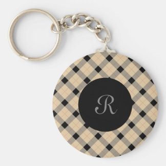 Plaid / tartan  pattern beige and black key ring