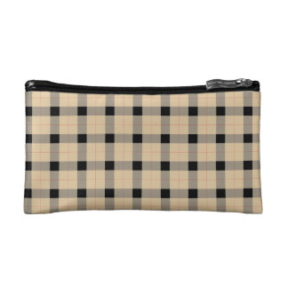 Plaid / tartan  pattern beige and black makeup bag