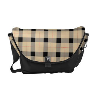 Plaid / tartan  pattern beige and black messenger bags