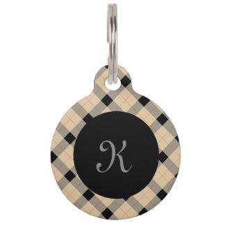Plaid / tartan  pattern beige and black pet name tag