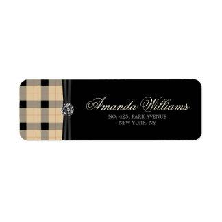 Plaid / tartan  pattern beige and black return address label
