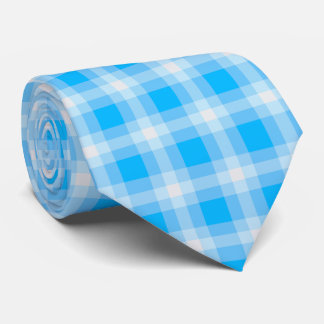 Plaid /tartan pattern blue and white tie