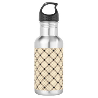 Plaid /tartan pattern brown and Black 532 Ml Water Bottle