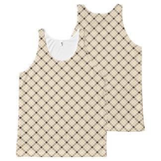 Plaid /tartan pattern brown and Black All-Over Print Singlet
