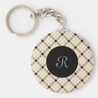 Plaid /tartan pattern brown and Black Key Ring