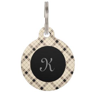 Plaid /tartan pattern brown and Black Pet Tag