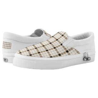 Plaid /tartan pattern brown and Black Slip-On Shoes