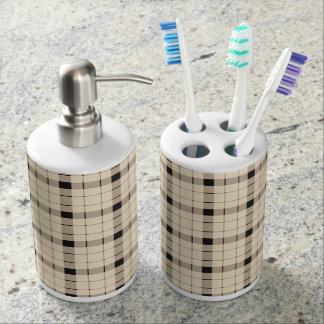 Plaid /tartan pattern brown and Black Soap Dispenser And Toothbrush Holder