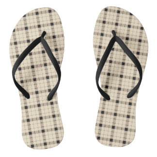 Plaid /tartan pattern brown and Black Thongs