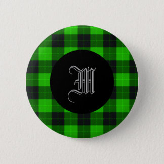 Plaid /tartan pattern green and Black 6 Cm Round Badge