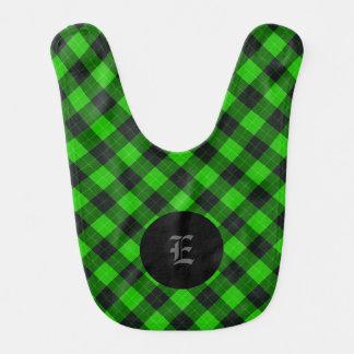 Plaid /tartan pattern green and Black Bib
