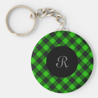 Plaid /tartan pattern green and Black Key Ring