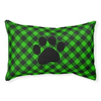 Plaid /tartan pattern green and Black Pet Bed