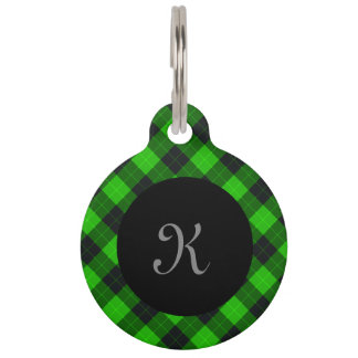 Plaid /tartan pattern green and Black Pet Name Tag