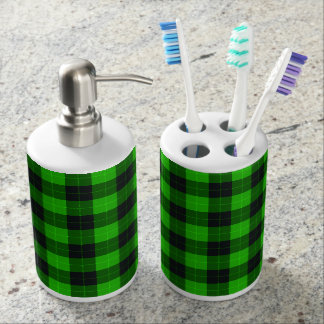 Plaid /tartan pattern green and Black Soap Dispenser And Toothbrush Holder