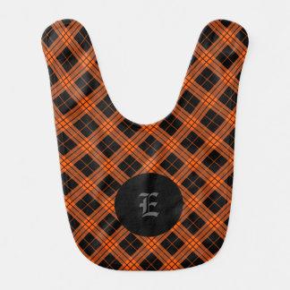 Plaid /tartan pattern orange and Black Bib