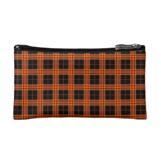 Plaid /tartan pattern orange and Black Cosmetic Bag
