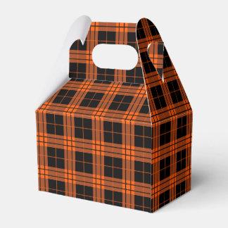 Plaid /tartan pattern orange and Black Favour Box