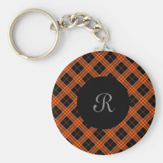 Plaid /tartan pattern orange and Black Key Ring