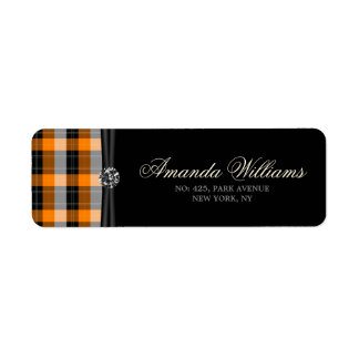 Plaid /tartan pattern orange and Black Return Address Label