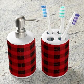 Plaid /tartan pattern red and Black Bathroom Set