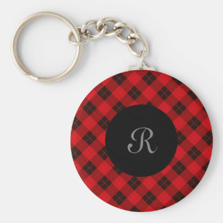 Plaid /tartan pattern red and Black Key Ring