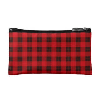 Plaid /tartan pattern red and Black Makeup Bag