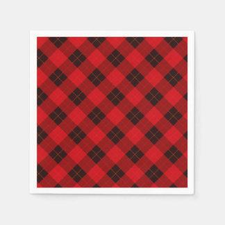 Plaid /tartan pattern red and Black Paper Napkins