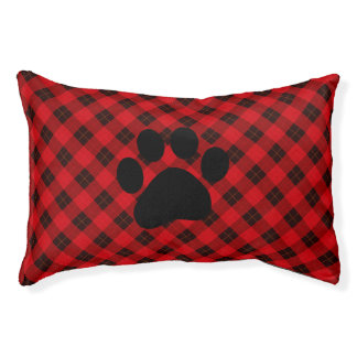 Plaid /tartan pattern red and Black Pet Bed